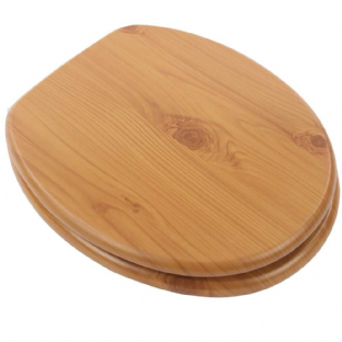 Arley Antique Pine Wood Effect MDF Easy Clean Quick Release Toilet Seat - 237206AP